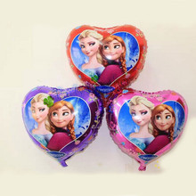 Lucky 10pcs/lot 18 inch Heart Anna&Elsa Balloon Cartoon Princess Foil Helium Balloons Mylar Ballon Party Decorations Baloons Toy(China)