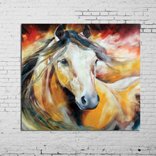 100% Hand-painted Oil Painting Yellow Wild Horses In All Modern Abstract Art Family Adornment Art Wall Without Frame