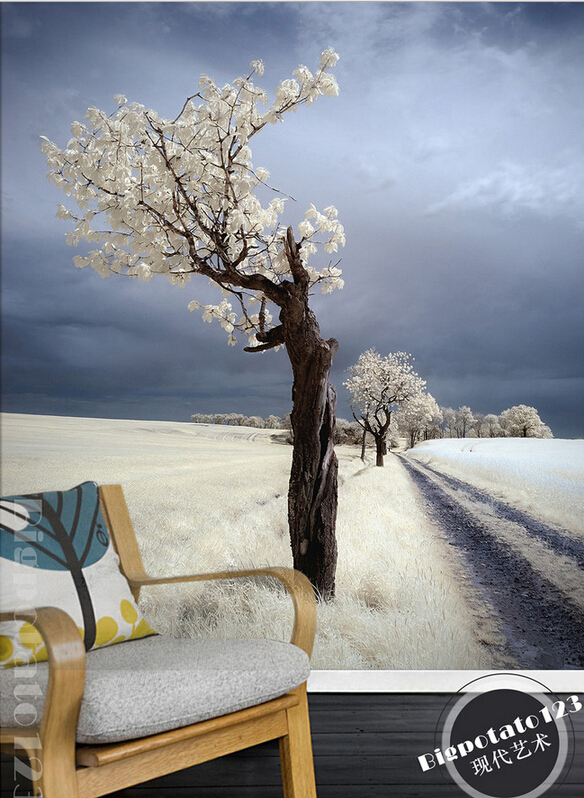 Latest high quality custom 3D mural,beautiful  Snow White flowers trees landscape ,living room  TV wall bedroom wallpaper.<br>