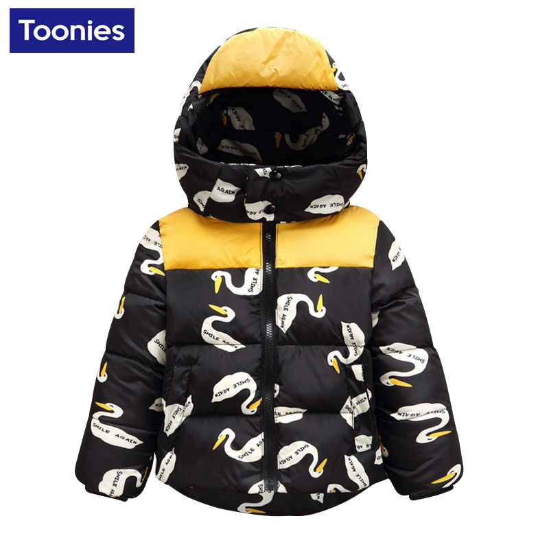 Children Kids Clothing 2017 Autumn Winter Lovely Swan Printed Jacket For Boys Girls Cotton Casual Hooded Coats Short OuterwearОдежда и ак�е��уары<br><br><br>Aliexpress