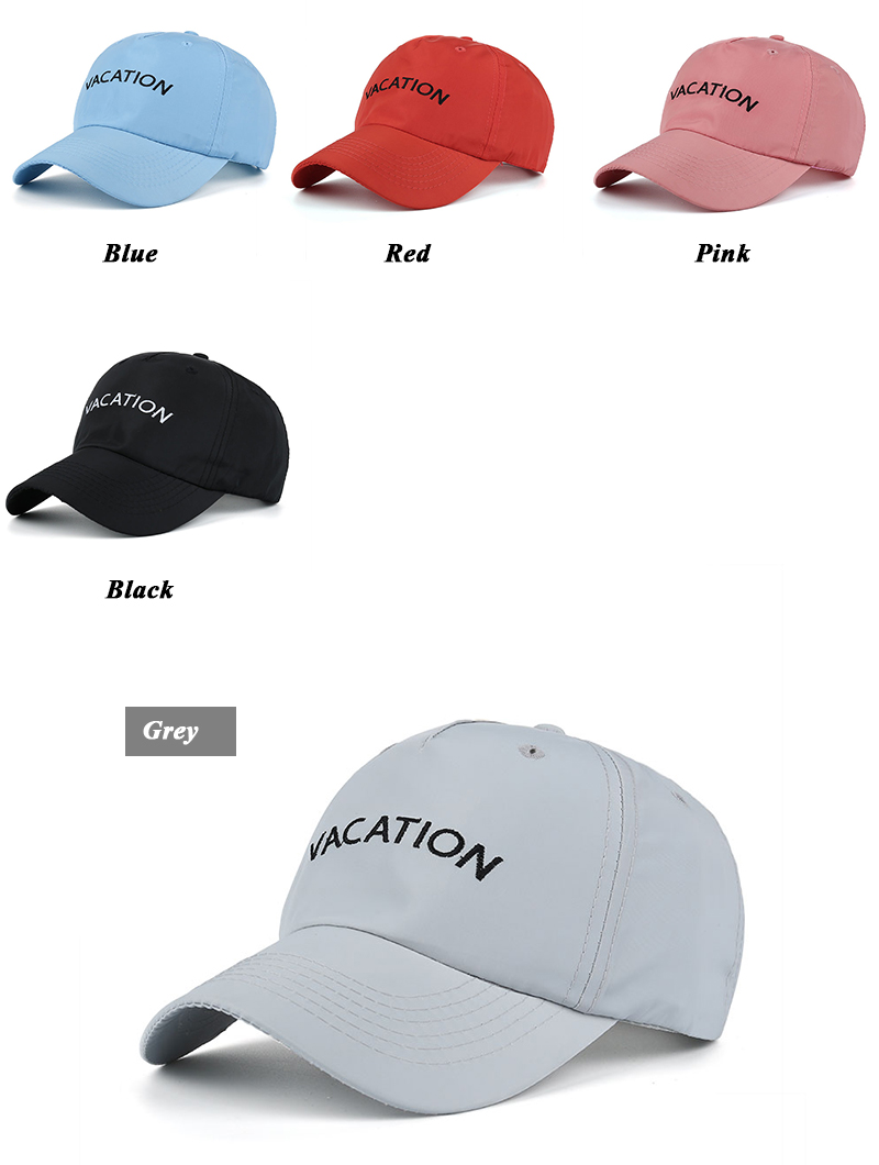 "Embroidered ""Vacation"" Baseball Cap - More Available Colors"