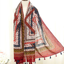 Hot sale women floral scarf/scarves geometric print shawl blue/red design muffler muslim hijab wraps vintage pashmina hot sale