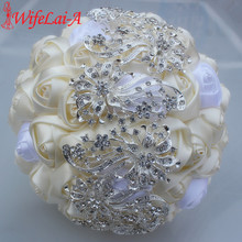 100% Top Quality Bridal Bouquet Ivory Cream Flower Diamond Brooch Wedding Bouquet Crystal Stitch Bouquets Welcome Custom