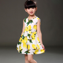 2017 Brand New Spring Summer Girl Dress Fruit Lemon Pattern Baby Girl Dress Children Sundresses Kids Fly Sleeve Dresse