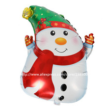 50pcs/lot New arrival Christmas air inflatable snowman balloon merry Christmas decoration foil balloons