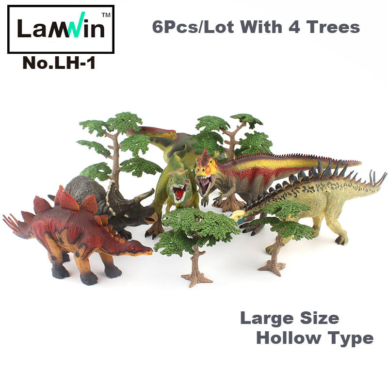 Lamwin 6Pcs/Lot Large Dinosaur Toy Collection Set Jurassic World Park Hollow Model Figure Free Gift Dinossauro Egg<br>