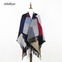 jzhifiyer YX145 women poncho cashmere plaid pattern reversible scarf capes outwear capes brand cloak ponchos pashminas mujer(China)