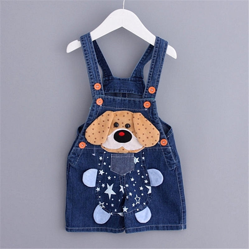 Summer Cartoon kids overall jeans newborn baby bebe short denim overalls jumpsuits for toddler/infant boys girls bib pants V798(China (Mainland))