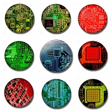 Computer Circuit Board 30 MM Fridge Magnet Hardware Geek Gift Glass Dome Magnetic Refrigerator Stickers Note Holder Home Decor