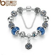 Silver Color Snake Chain Charm Bracelets & Bangles with Safety Chain & Glass Beads Bracelet for Women PA1494