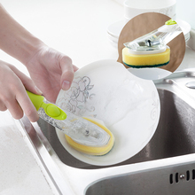 1PC Cleaning Brush With Sponge Cleaning Tablets Kitchen Accessories washing Dishes Toilet Ground Handle Can Be Added Detergent