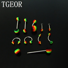 wholesale rasta reggae body jewelry 180pcs mixed styles stainless steel shaft lip labret eyebrow tongue barbell free shipping