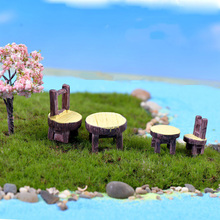 Resin Figurines of Round Table and Chair Pastoral Style Artificial Wood Furniture Fairy Garden Miniatures Doll House Accessories