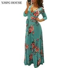 YJSFG HOUSE Women Vintage Floral Print Long Party Dress Casual Elegant Ladies V-neck Tunic Maxi Dresses Autumn 3/4 Sleeve Robe