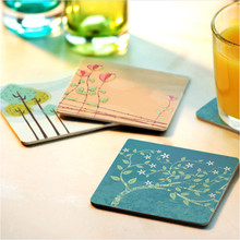 CFen A's Creative wood Coasters Cup Cushion Holder Non-slip heat proof coffee Coasters Cup Mat DIY hand painted,4pcs/lot