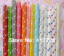 Special designs!13colors stars series paper straws,drinking straws for Wedding Christmas Valentine holidays party favor supplies