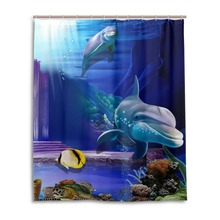 Shower Curtain Dolphin Bath Curtain Animal Fabric 3d Waterproof Sea Turtle Blue Cartoon Curtain for Bathroom Hooks