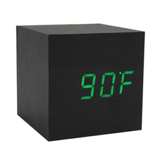GSFY-Wood Cube LED Alarm Control Digital Desk Clock Wooden Style Room Temperature Black wood green led