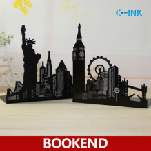 Ferris Wheel / Eiffel Tower / Statue of Liberty Metal Book Ends, Novelty Vintage Black Bookend as book stand for home and office(China)