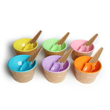 Cute Plastic PS Ice Cream Bowl with Spoon Eco-Friendly Dessert Container Set Icecream Cup Children Dinnerware FDA