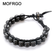 MOFRGO 8mm Beads Natural Coconut Shells Black Yak Bone Charm Bracelets For Women Handmade Weave Leather Bracelet Men Jewelry(China)