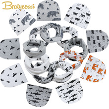 Spring Autumn Cotton Baby Beanie Hats Cartoon Print Newborn Hat Elastic Toddler Infant Cap O-Ring Scarf 1 PC(China)