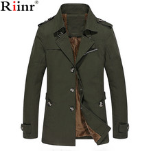 Riinr 2017 New Arrival Winter Wool Coat Slim Fit Jackets Fashion Outerwear Warm Man Casual Jacket Overcoat Pea Coat Plus Size(China)