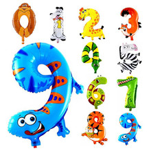 Birthday Party Decorations Kids 0-9 Balloon Number Foil Balloons Animal Helium Balloon Party Favors Ballons Decoration Birthday(China)