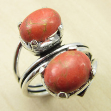 ORANGE COPPER Turquois Ring Size 5 3/4 ! Silver Plated Jewellery ONLINE STORE India Jewelry(China)