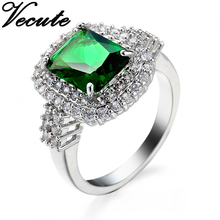 Fashion White Gold Color Emerald Crystal Ring for Women Green Simulated Gemstone Ring Wedding Jewelry Super High Quality