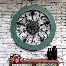 Creative Retro design style home solid wood Iron embossed flowers large round wall decorated decorative wall pendant(China)