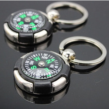 2Pcs/Set Mini Portable Outdoor Keychain Keyring with Compass Key Chains Hanging Military Camping Backpack Hiking Survival Tools