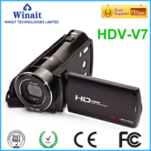 "Freeshipping home use HDV-V7 digital video camera 3.0"" rotatable LCD display 24mp photo camera 32GB memroy HD video camcorder(China)"