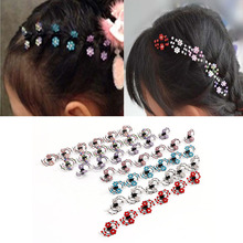 6Pcs Women Plum Flower Hair Clips Rhinestone Hairpins Wedding Bridge Jewelry