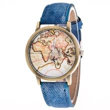 casual mens and womens watches Fashion Women's World Map Cowboy Band Analog Quartz Wrist Watch womens watch bracelets cheap(China)