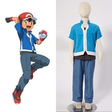 New Pokemon Ash Ketchum Satoshi Season 5 XY Cosplay Costume Full Set Child Version Kids Child Halloween Party Gifts For Boy Wear