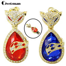 Cartoon 32GB 16GB 8GB 4GB Crown Fox USB 2.0 Flash Pen Drive 2GB Jewelry Diamond Flash Memory Stick USB Flash Drive witn necklace