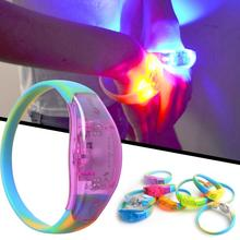 Sound Control LED Lighting Silicone Bracelet Wristband Vocal Concert Flashing Party Supplies(China)