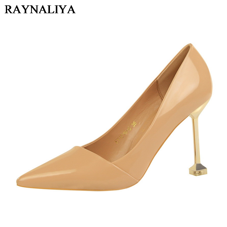 Fashion Women High Heels Sexy Pumps Patent Leather Thin Heels Wedding Shoes Pumps Black Nude Shoes Heels High Quality DS-A0117<br>