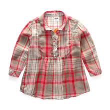 12M to 4T baby & kids girls gingham classic plaid 100% cotton tunic shirts children summer spring fall long sleeve shirt blouse