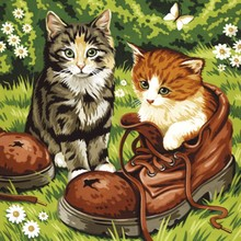 5D cat wearing shoes DIY diamond painting cross stitch set home decoration whole water diamond line Diy diamond painting cross s