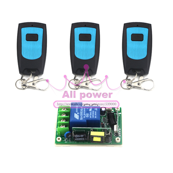 AC 85V 110V 250V 10A 1 CH 220V RF Wireless Remote Switch Receiver &amp; 3 Transmitter Switch Wireless 10A Momenrary Toggle Latched<br><br>Aliexpress