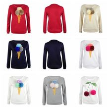 2016 Autumn Sweatshirt Women Colorful Plush Ball Ice Cream Long Sleeve O-neck Causal Tracksuit Ladies Hoodies Pullovers YF115
