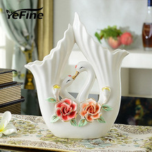 YeFine Porcelain Flower Vases For Home Decoration European Style Ceramic Tabletop Jardiniere Artware Handmade Decorative Vases
