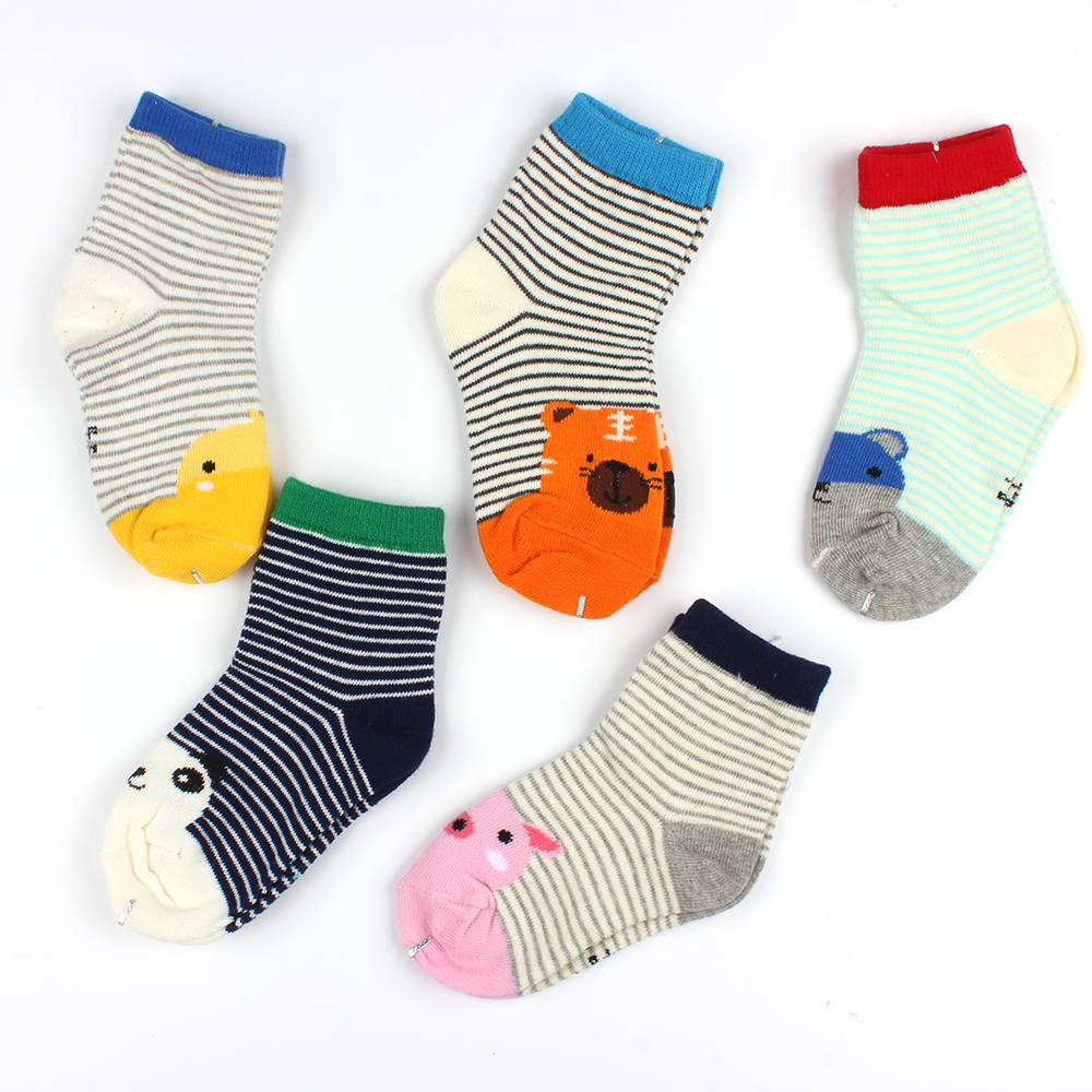 5 Pairs Baby Cute Cotton Socks Fall Winter Cartoon Animal Pattern Stripe Socks Kids Boy Girl Floor Socks Infant Casual Slippers<br><br>Aliexpress