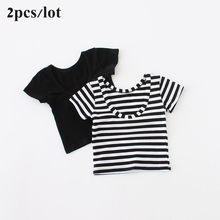 Sun Moon Kids Girls T-shirt 2PCS/Lot Summer Short Sleeve Stripe and Black Lovely Children Tops Backless Baby Girls T Shirts(China)
