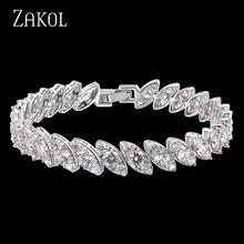 ZAKOL New Arrival Sliver Color Chain Bracelets For Elegant Women Marquise Cubic Zirconia Jewelry FSBP114