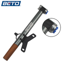 BETO Bicycle Pump Portable Mini Ultra-ligh Aluminum Alloy Pump High Pressure Wood handle With Barometer 100PSI for AV/FV