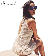 Buy Simenual Cut back knitted beach dress output swimwear 2017 hollow sexy boho summer sundresses crochet hot dresses pareos for $11.99 in AliExpress store