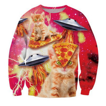 New Fashion Men/Womens Creative Design Hoodies Funny Cute Pizza Cat UFO Printed 3D Casual Sweatshirts Crew Neck Jumper Pullovers